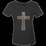 Girlie Shirt Black Sabbath Cross ( Glitter )