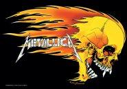 Flagge Metallica Skull & Flames