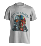 T-Shirt Sons of Anarchy Flame Skull ( white )