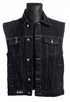 jeans weste schwarz capricorn rockwear bergr e online shop. Black Bedroom Furniture Sets. Home Design Ideas
