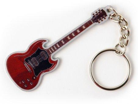 Schlüsselanhänger Gitarre Sunburst rot