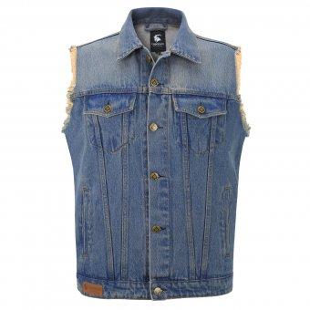 Jeansweste Capricorn blau mit ausgefransten Armen Gr. S bis 3XL
