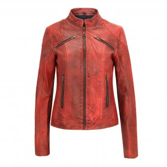 Lederjacke für Frauen ( rot ) Modell Derby