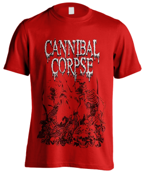 T-Shirt Cannibal Corpse Pile of Skulls ( red )