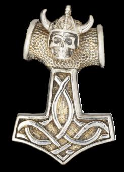 Anhänger Skull Thors Hammer Bronze