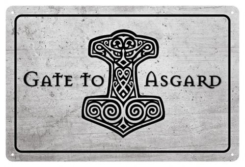 Blechschild Welcome to Asgard