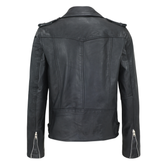 Lederjacke schwarz 80's Style XL