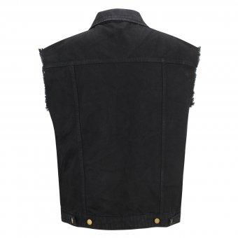 Capricorn Rockwear Jeans Weste Bomber schwarz mit ausgefransten Armen