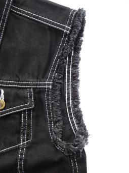 Jeans Weste schwarz mit ausgefransten Armen Capricorn Rockwear