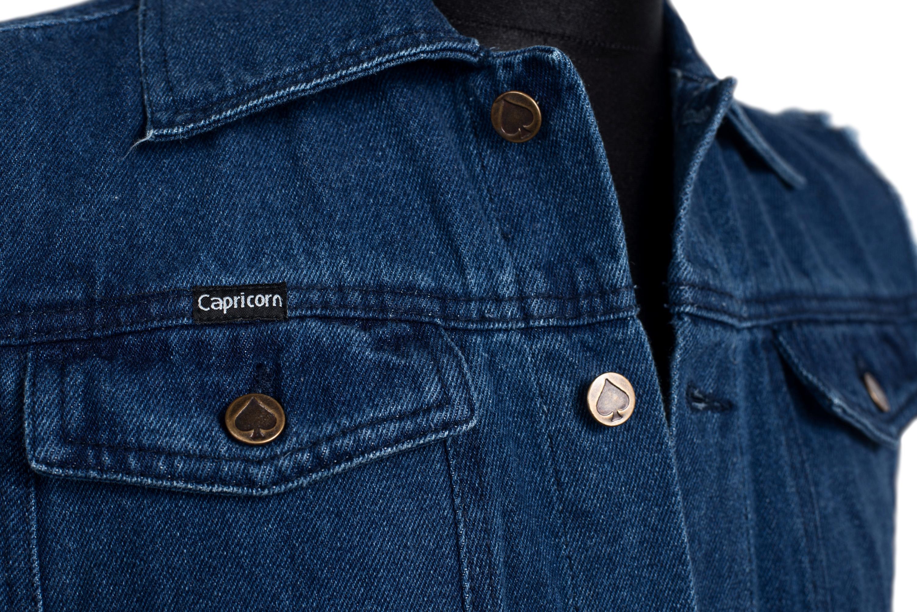 jeans weste blau mit ausgefransten armen capricorn rockwear online shop. Black Bedroom Furniture Sets. Home Design Ideas