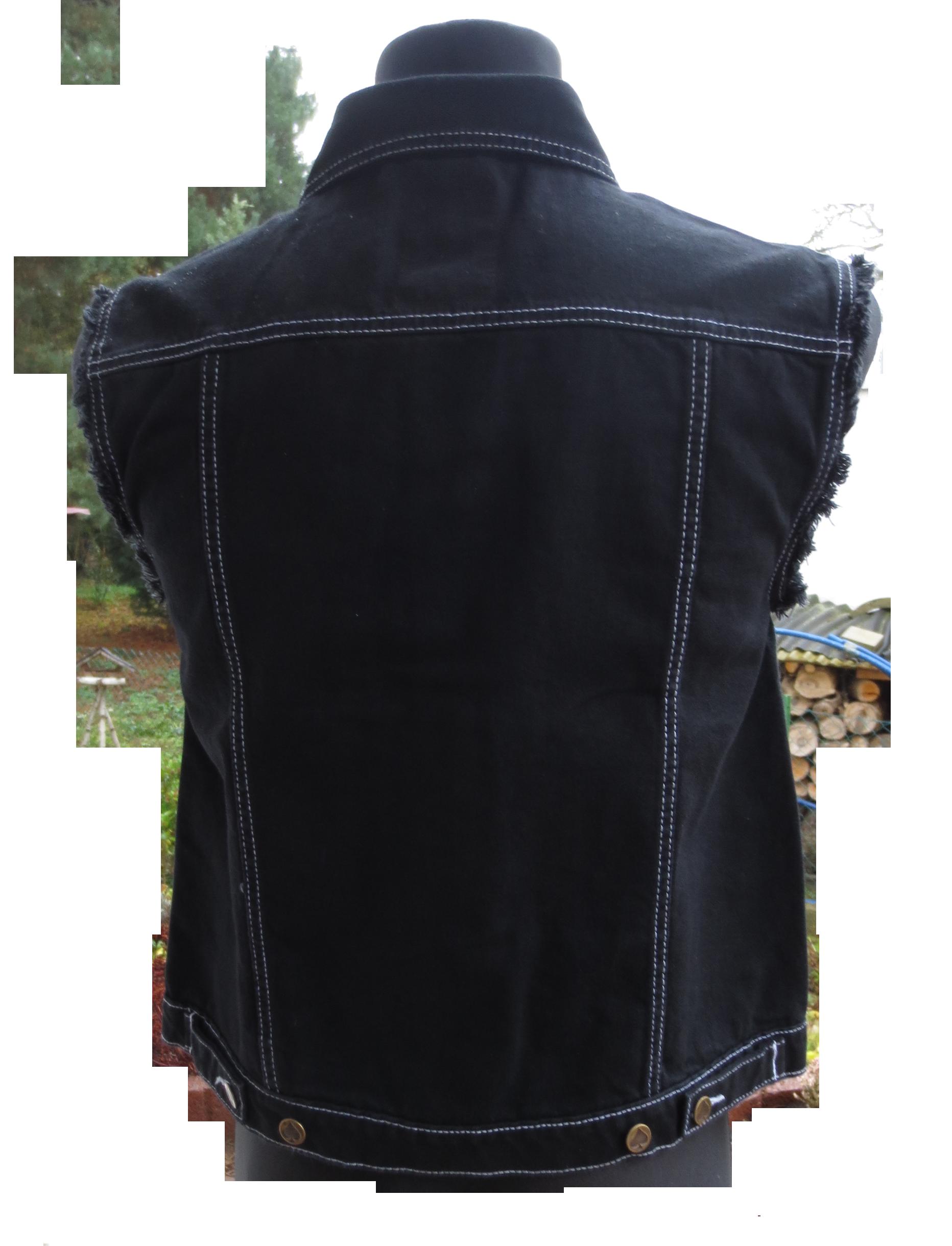 jeans weste schwarz mit ausgefransten armen capricorn rockwear online shop. Black Bedroom Furniture Sets. Home Design Ideas